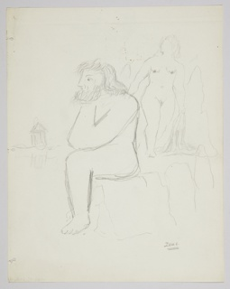 Study likely for a Pantheon Books edition of Rachel Bespaloff's book, On The Iliad, published in English as part of the Bollingen Series. At center, a nude figure with a beard, sitting in left profile, resting their chin on their hands. At left, a classical temple. At right, a standing nude facing frontally.