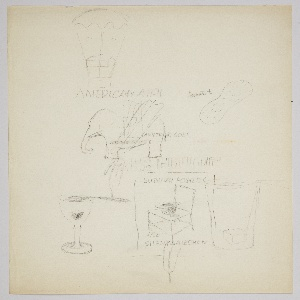 """Studies in graphite for various advertising campaigns, including American Airlines, New York Subways Advertising Company, and the Broadway musical """"Anything Goes"""". Upper left: house suspended by hot air balloon; text above: AMERICAN AIRL. Upper right: peanut with text: """"peanuts to""""; center: elephant in profile, superimposed with three feathers and text: ANYTHING GOES / ANYTHING GOES, above block text: AIR FREIGHT. Lower left: goblet with sugar cube and fork balanced on rim (likely absinthe glass). At center: chair with upturned hat resting on seat, with text above and below: SUBWAY POSTERS / ARE / SILENT SALESMEN, inscribed in a rectangle, superimposed with feather; overlapping drawing of of glass with sugar cube and fork balanced on rim."""