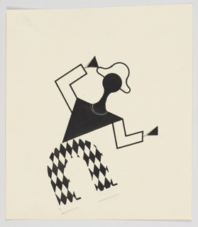 """Study of a figure for """"The Wizard from the Wall"""" series. In black and white, an abstract figure dressed as a harlequin angles its body leftward, with arms raised."""