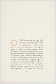 Sample page for a Pantheon Books edition of Rachel Bespaloff's book, On The Iliad, published in English as part of the Bollingen Series. Page shows sample of chapter heading with initial letter, in pink, designed by Kauffer.
