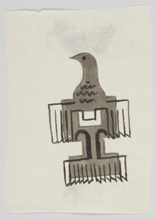 Likely a study for an Imperial Airways (now, British Airways) advertisement or logo. At center, an imperial eagle in brown, rendered semi-abstractly and seen frontally with its head turned to the left. The eagles wings and tail are emphasized in a black outline, which forms the letter T.
