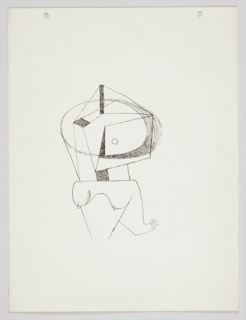 Study of an abstract, cubist depiction of a figural bust, seen from the torso up, facing frontally. The head of the figure is composed of irregular, geometric shapes. The body of the figure features two round breasts, a triangular torso, and only the left arm.