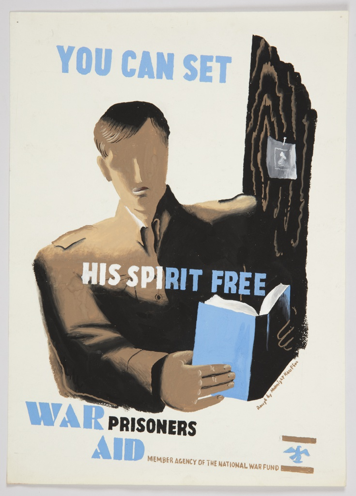 "Design for ""You Can Set His Spirit Free"" poster. At center, a bust of a figure facing frontally, dressed in brown, reading a blue book. Over the figure's shoulder to the right, a white image/picture is nailed to the trunk of a tree. Above in blue text: YOU CAN SET; at center, in white and blue text superimposed over the figure's chest: HIS SPIRIT FREE; at bottom left, in white and blue text: WAR PRISONERS / AID. Across bottom, in yellow-brown text: MEMBER AGENCY OF THE NATIONAL WAR FUND [National War Fund logo in blue and brown]."