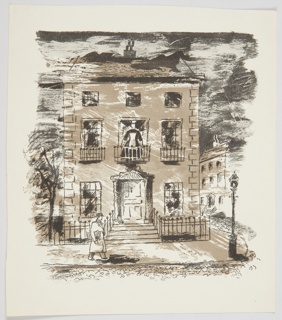 Illustration for Christopher Isherwood's book, Lions and Shadows, published by the Hogarth Press. A large, three-story house on a corner lot. A wide sidewalk wraps around the house in front and at right. A figure in a long coat walks in front of the house toward a street lamp at the corner (right). A figure in a black dress stands on the balcony of the middle window of the second storey, directly above a white front door.
