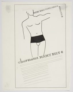 Study for a Charnaux Man's Belt advertisement. At center top, the torso of a male nude in black outline, wearing only a black corset belt. The figure's arms and head are only partially indicated. Text to the right of the image in black: MEN WHO CARE ABOUT / HEALTH [vertically]; below the image: charnaux MAN'S BELT [black circle]. Lines below indicating placement for advertising copy. Framing for the design is indicated in black around the composition.