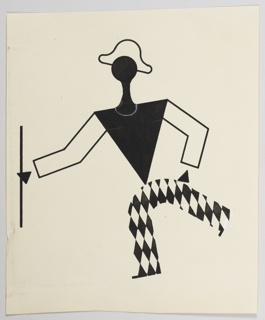 """Study of a figure for """"The Wizard from the Wall"""" series. In black and white, an abstract figure dressed as a harlequin poses with a baton."""