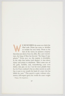 Print, Sample Page of On The Iliad