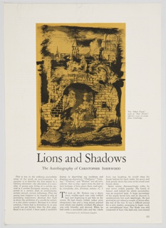 Page layout or sample page for Christopher Isherwood's book, Lions and Shadows, published by the Hogarth Press. Two figures walk out of a courtyard, through a large brick gate, inscribed with the date 1675 at the top. In the background, the tops of buildings and spires can be seen peeking above the gate. The image is depicted in black, and shaded in yellow. Below the image, in black text: Lions and Shadows / The Autobiography of Christopher Isherwood. At bottom, the text of Isherwood's book arranged in three columns.