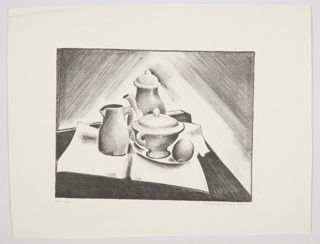 Still life composition with a close up view of the corner of a table. On the table top, an arrangement of tableware including a pitcher, a coffee server, and a tureen. At right, an oval fruit.