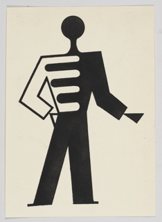 """Study of a figure for """"The Wizard from the Wall"""" series. An abstract figure dressed in livery, standing with one arm outstretched."""
