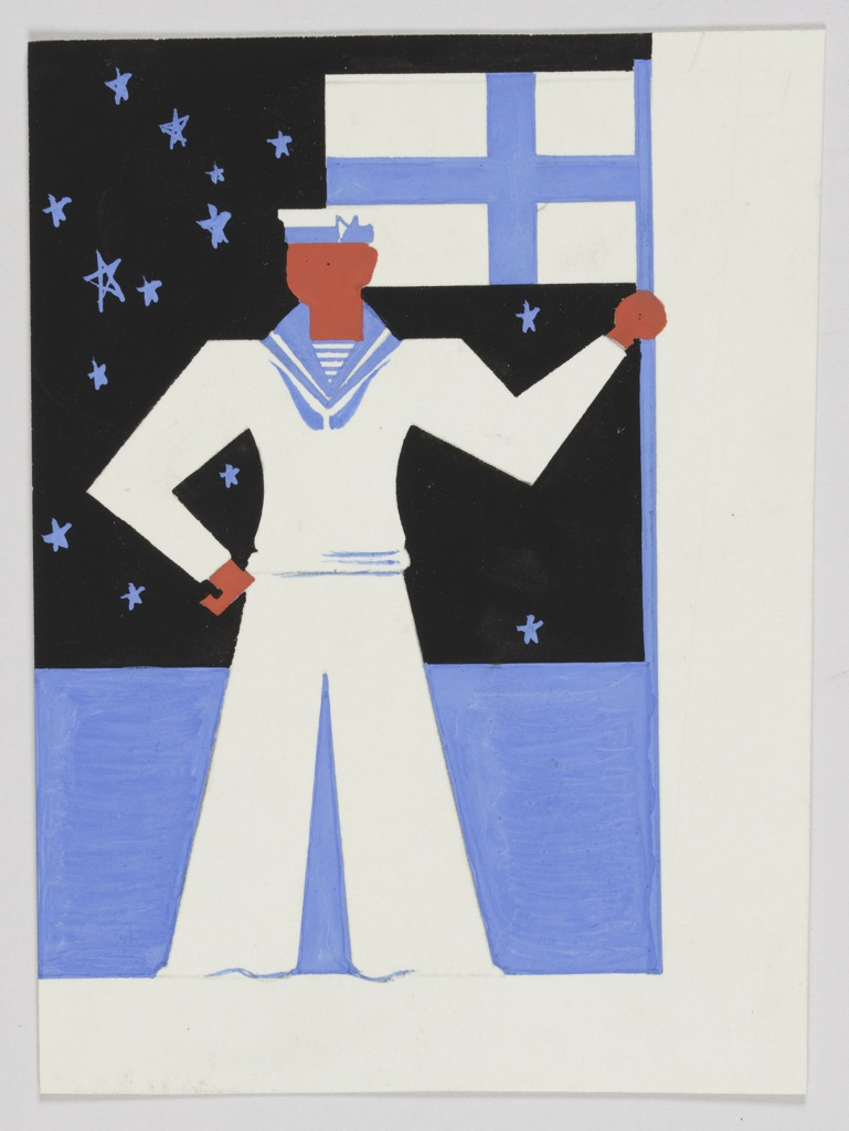 Design for Orient Line advertisement. Frontal view of a sailor holding a banner, which shows a blue cross on white ground. Behind the figure, a blue body of water and a black, starry sky.