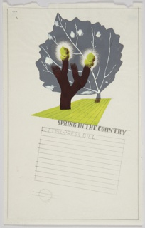"Study for a ""Spring in the Country"" Poster for the London Transport. At top, a brown tree with some green, bushy leaves on its top-most branches. Behind, a large gray leaf. Below, a light green, abstracted field in perspective. In gray text underneath: SPRING IN THE COUNTRY / LETTER_RESS BILL. Rows of lines in graphite fill the bottom half of the page, indicatating space for copy. At bottom, left: [London Underground logo]."