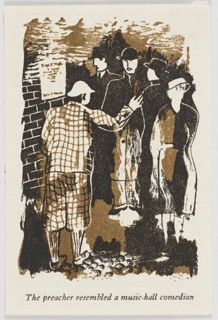 Sample page for Christopher Isherwood's book, Lions and Shadows, published by the Hogarth Press. At left, a figure stands next to a brick wall (where a poster is pasted), dressed in plaid and waves at a crowd of people behind and to the right. Below the image, across the bottom of the page, in black text: The preacher resembled a music-hall comedian.