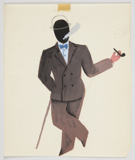 Study for an advertisement, possibly for pipe tobacco. A standing figure facing frontally with legs crossed, one hand leaning against a cane and the other bent holding a pipe. The figure wears a brown double-breasted suit, white shirt, blue bowtie, and a bowler hat (rendered in outline). The figure's head is rendered as a black oval with smoke emanating from where the mouth would be.