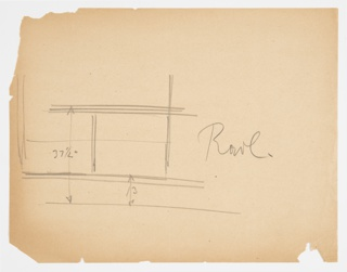 Rough sketch with dimensions of paneling or cabinetry for Lady Esther Yacht.
