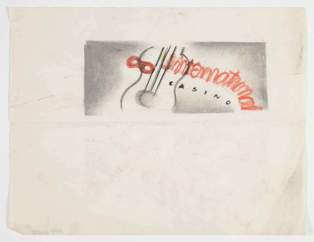 """Design for proposed signage for International Casino, New York, NY. Rectangular format with opaque gray ground which dissolves around """"international / CASINO"""" is diagonally inscribed in orange-red and black pastel, respectively, superimposed over a guitar in black. Orange-red infinity symbol or mask [?] superimposed over left edge of guitar."""