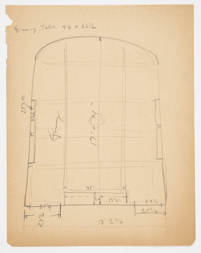 Design for dining room on Lady Esther Yacht showing dimensions and placement of large dining table. Room is curved above and right-angled below. Two doors at lower wall of room, separated by window. Window on each side wall.