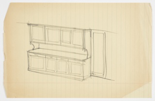 Design for cabinet for the Lady Esther Yacht. Rough perspective sketch of wall elevation shows four-module built-in object with cabinets above work surface and stack of cabinet and drawer below.