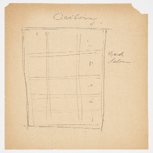 Rough sketch of design for deck saloon ceiling on the Lady Esther Yacht. Fifteen panels arranged in rectangular format.