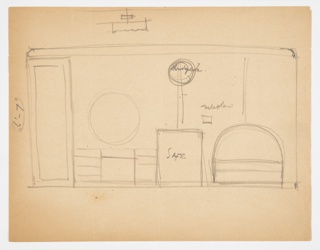 Plan for bedroom on Lady Esther Yacht. Doorway at left. Vanity to right, with circular mirror over furniture. Rectangular safe at center, mounted telephone over safe to the right, circular window above. Bed at right with demilune headboard. Hanging drum-shaped lighting fixture on ceiling.
