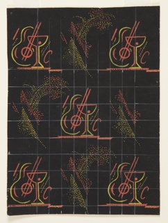 Design for carpet for International Casino (1530 Broadway, New York, NY). Black ground with allover repeat pattern of stylized, cubist guitars superimposed by cocktail glasses with ornamental flourishes alternating with sprays of yellow and orange dots. Design laid over white grid.