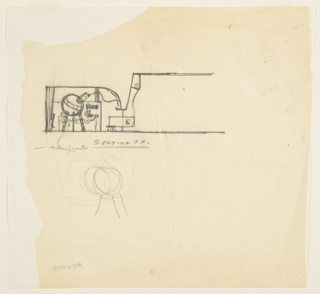 Design for Gillette's Medicine Chest exhibit at the 1939 New York World's Fair.  At upper left, spherical chemist's flask stands on three straight legs. Vessel's spout emits undulating wave, while in background exhibit displays and texts can be seen. Below, very rough sketch of flask.