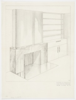 Design for fireplace wall mantel for Jascha Heifetz apartment. Perspective shows rectilinear fireplace with reflective surface, either tile or polished stone. Smooth, undecorated surface above fireplace. Adjacent shelving and cabinet unit to right of fireplace with five shelves above unit. Base has one drawer above a two-door cabinet. Handles for cabinet and drawer are narrow and rectilinear.