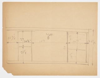 Rough design for cabinetry and lighting for Lady Esther Yacht with dimensions. Three panels: right half of left panel divided near center; center panel contains light; right panel divided at center. Side panels might be shelving units.