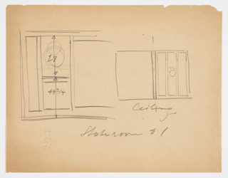 Designs for sidewall and ceiling of Stateroom No. 1, Lady Esther Yacht. At left, rough sketch with dimensions shows built-in units; at right, ceiling structure with circular light fixture shown at center of three rectangular panels and open plane at left.