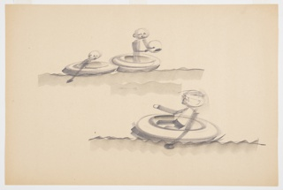 Design for water saucer toy. Above, two children are shown using the object to float in water; left figure paddles while right figure holds a ball. Below, additional figure floats in the circular disk, also paddling.