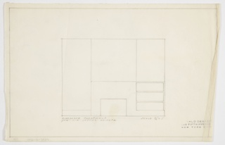 Design for fireplace wall elevation for Jascha Heifetz game room and bar in New York, NY. At center, tripartite elevation wherein central section features fireplace with planar surround below; above, possibly a mirror. Planar surround extends rightward to built-in with three shelves above baseboard; on other side of fireplace, baseboard extends rightward, as well.