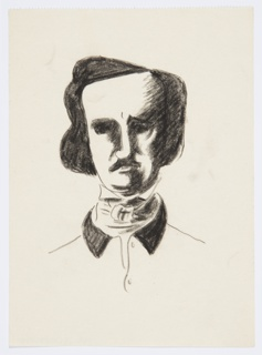 Study for an illustration for a 1946 edition of The Complete Poems and Stories of Edgar Allan Poe, published by Knopf in New York. Bust portrait of Edgar Allan Poe shown frontally, rendered in black. The left side of Poe's facial features are cast in a shadow. His coat has a black collar and is unbuttoned at the throat. There is also a scarf or cravat tied snugly around his neck, above the collar of his jacket.