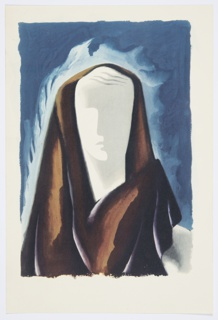 Printed proof of an illustration for a 1946 edition of The Complete Poems and Stories of Edgar Allan Poe, published by Knopf in New York. Abstract rendering of a bust, facing frontally, with a brown cloth draped over their head and shoulders. The face is only partially indicated, and is white. The figure is set against a blue, sky-like ground.