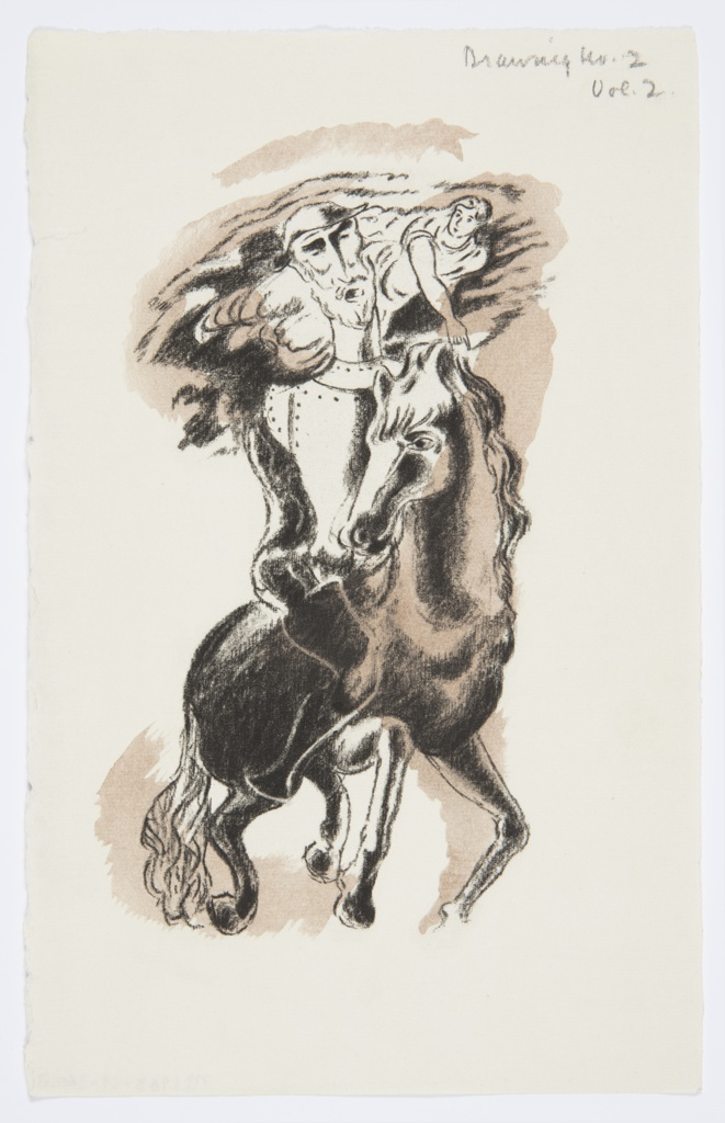 Illustration for a Nonesuch Press edition of Miguel de Cervantes' 1605 novel, Don Quixote. At center, a figure wearing full armor rides a black horse. Above, a god-like figure wearing robes flies through the sky pointing down towards the horse and rider. Image is shaded in brown. Presumably the figure on horseback is Don Quixote and the figure flying above is an evocation of Dulcinea.