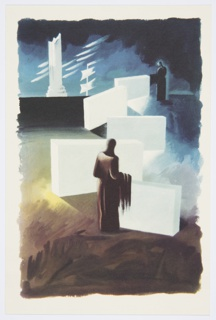 Printed proof of an illustration for a 1946 edition of The Complete Poems and Stories of Edgar Allan Poe, published by Knopf in New York. This drawing is likely meant to accompany the short story, The Telltale Heart. Two hooded figures in brown and black stand within an abstract landscape composed of large white blocks. In the background, on the horizon, at left, a broken, white column. To the right of the column, a flagpole with two white flags. The ground of the image is brown with a dark blue sky.