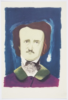 Printed proof of an illustration for a 1946 edition of The Complete Poems and Stories of Edgar Allan Poe, published by Knopf in New York. The illustration is likely for Poe's short story, The Murders in the Rue Morgue, originally published in 1841. Bust portrait of Edgar Allan Poe, facing frontally. Poe's facial features are carefully delineated. He wears a purple jacket with a green collar. Underneath, he has a high gray and white collar covering his neck. Bust is set against a blue ground with a single white brush stroke outlining Poe's head, with a bright white spot on the right side.
