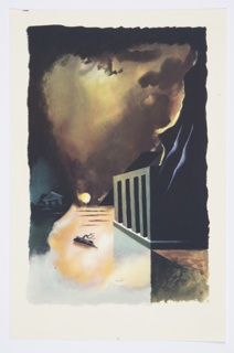Printed proof of an illustration for a 1946 edition of The Complete Poems and Stories of Edgar Allan Poe, published by Knopf in New York. Abstract landscape featuring a large body of water at night. To the right, an arcaded structure in green at the base of a steep mountain. At center, a log floating in the water illuminated by the light of a full, yellow moon or a setting sun low in the horizon in the background. At the left, a half-submerged temple sinking into the horizon.