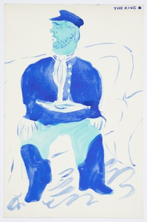 Illustration of Isaak Babel's fictional character, Benya Krik (referred to as The King) in many of Babel's short stories. At center, The King sits on a roughly rendered couch, with his hands on his legs and his head turned to the left. The King is illustrated in various blue tones.