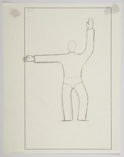 Study for a Charnaux advertisement (likely the Man's Belt, a corset belt). At center, an abstracted figure standing one arm outstretched to the left and the other reaching straight up. The figure is depicted wearing briefs, indicated in outline. Framing line for the advertisement indicated in black ink.