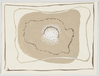Study for a carpet design. Within a brown framing line, a tan globular shape superimposed by white dots forming a circle at center, with an amoeba-like shape of brown dots creating a ring around this, and a tan and white line surrounding that.