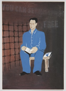 """Study for """"You Can Set His Spirit Free"""" poster. At center, a black-haired figure wearing a blue top and blue pants is seen seated on a wooden bench, holding an open book. The background is mostly brown, with a barbed-wire grate indicated at the left. Above, in faint white text: YOU CAN SET HIS SPIRIT / FREE."""