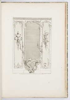 Print, Plate 3, Developement d'un Trumeau de glace fait pour le Portugal (Design for a Pier Glass with Varation for Portugal), Oeuvre de Juste-Aurèle Meissonnier (Works of Juste-Aurèle Meissonnier)