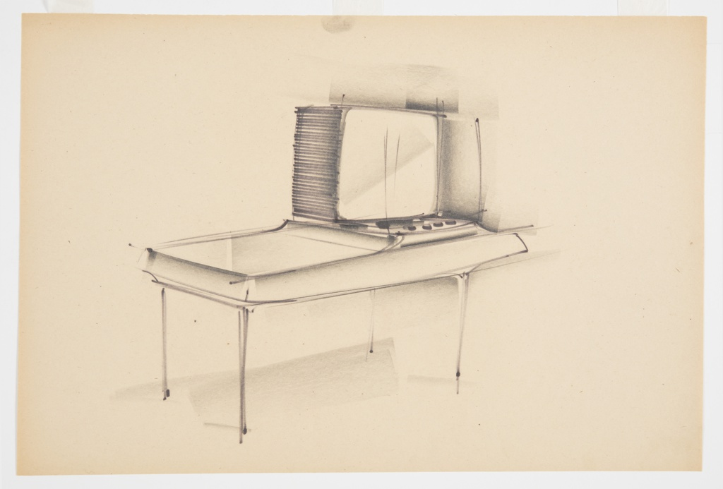 Design for a blow-molded television console. Overall rectangular object supported by four slender legs. Trapezoidal volume with open left top surface while right side slopes up and is inset with control knobs/dials as well as CRT television set.