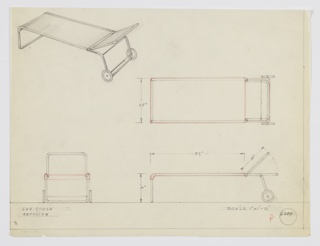 Design for portable chaise longue or sun couch shown in perspective, plan, and elevations. Tubular metal frame with rectangular front support angles backwards to support stretched textile seat and adjustable back. At rear, tube terminates in large wheels. Inscribed with Deskey No. 6354.
