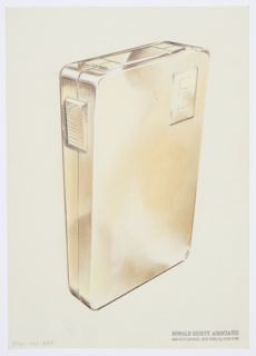 """Design for lighter for Diamond Match Company. Perspective in graphite and pastel on paper vellum shows rectilinear gold or brass lighter. Object comprised of two sections, front and rear; these are planar with rounded edges. At upper right, rectangular recess wherein the letter """"E"""" is engraved in sans-serif majuscule. At right, ridged rectangular button set into side; when depressed, this triggers the lighting mechanism, seen above as a rectangular panel flanked by paired squares. Likely that components separate to allow users to replace the fuel bag within."""