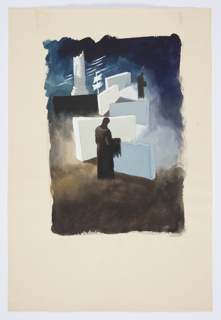 Study for an illustration for a 1946 edition of The Complete Poems and Stories of Edgar Allan Poe, published by Knopf in New York. This drawing is likely meant to accompany the short story, The Telltale Heart. Two hooded figures in brown and black stand within an abstract landscape composed of large white blocks. In the background, on the horizon, at left, a broken, white column. To the right of the column, a flagpole with two white flags. The ground of the image is brown with a dark blue sky.
