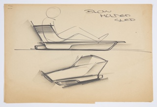 """Design for a blow-molded plastic sled for Union Carbide. Above, roughly sketched figure seated on low, aerodynamic L-shaped sled; low back features horizontal striations, while seat has rear runner/foot board and brush bow at front. Below ground line, object seen in perspective: back wraps around sides before sloping downward to gunwales. Inscribed in black marker at upper right: """"BLOW / MOLDED / SLED""""."""