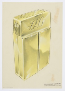 Design for lighter for Diamond Match Company. Perspective in graphite and pastel on paper vellum shows rectangular gold or brass lighter. Front panel consists of two vertical elements with incised line between them, angling inward at two-thirds height for create planar surface where monogram PLC is engraved. On its left, object features a horizontally-ridged button that, when depressed, releases the panel at top (shown with diamond-grid pattern) to reveal the lighting mechanism and wick. It is likely that front and rear sides disconnect to allow users to replace the fuel bag stored within.