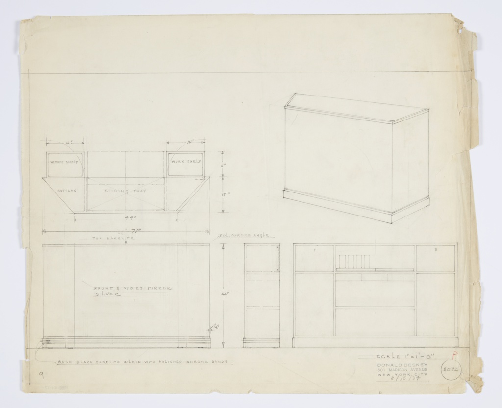 Design for bar. At upper right, object shown in perspective: planar sides with bands of trim below and above. Lower trim intended to be black Bakelite inlaid with polished chrome bands; upper trim is polished chrome; bar top in Bakelite. Front and sides mirror silver. At upper left, plan reveals storage divisions: a work shelf on either side, corner bottle storage, and a sliding try on shelf below top. Below, from left to right, front, side, and rear elevations provide additional views and information about storage capacities. Inscribed with Deskey No. 8092.