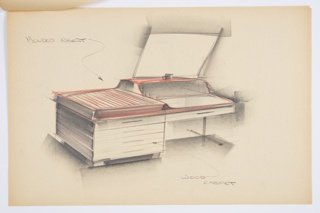 Design for vanity in plastic and wood. At center, perspective shows rectangular object with stack of four drawers floating on recessed base at left and one drawer at right supported by a T leg. On top of wood frame, a molded plastic insert is set: at left, this features integral hinge sliding door, while at right it is an open space with rear shelf that supports a mirror perched above. Stapled to additional drawings.